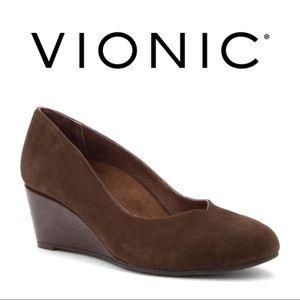 "Vionic | ""Antonia"" Dark Brown Wedge Pump"